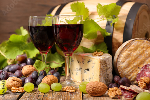 red wine with cheese and salami © M.studio
