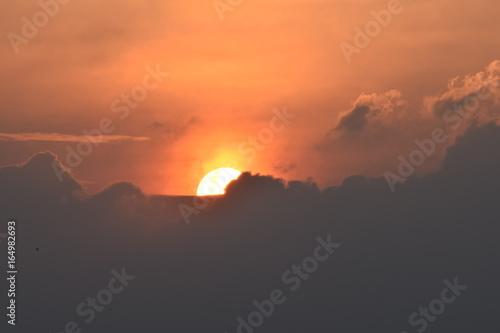Poster Oranje eclat mighty sun under shadow