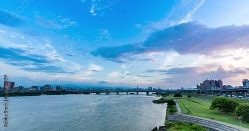 Zhongxiao Bridge in taipei taiwan sunset timelapse