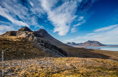 Foto op Canvas Mountain range under the clouds