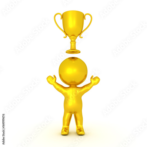 Foto op Canvas Golden 3D Character with gold trophy above him