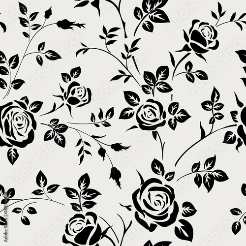 Fototapeta Seamless pattern with black rose silhouette on white background. Floral wallpaper