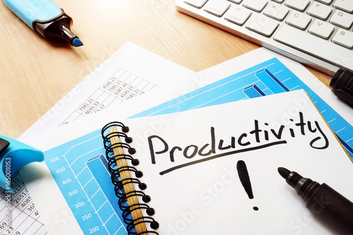 Productivity written in a note. Business concept.