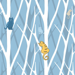 seamless trendy pattern with trees and cats. Floral vintage wallpaper. Fanny vector illustration