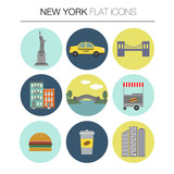 New York vector flat icon set