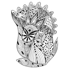 Hand-Drawn vector illustration of abstract decorative doodles. Coloring pages for adults
