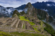 View of Machu Picchu and the surrounding mountains above the Sacred Valley, in Peru, South America