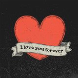 I love you forever text on vintage ribbon over red heart. Tattoo vector illustration