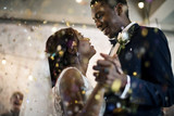 Fototapety Newlywed African Descent Couple Dancing Wedding Celebration