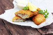 traditional British fish on wooden background - 165039095