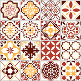 Fototapeta Kitchen - Portuguese vector tiles, Lisbon art pattern, Mediterranean seamless ornament in brown and yellow © redkoala