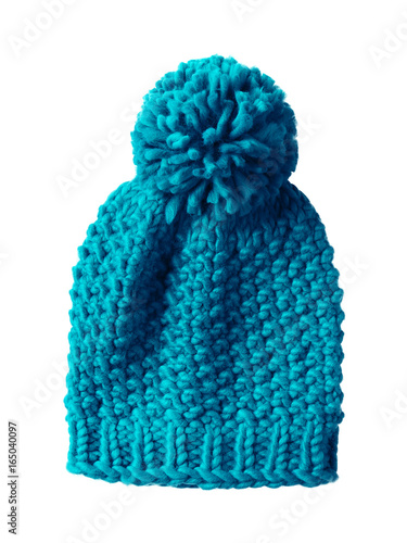 Jade sea color woolen winter cap hat with a pom pom pompon isolated on white