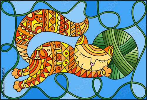 ilustracja-w-witrazu-stylu-z-czerwonym-smiesznym-kotem-obejmuje-pilke-zielen