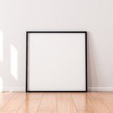 Square Poster with Black wooden Frame Mockup standing on the floor. 3d rendering