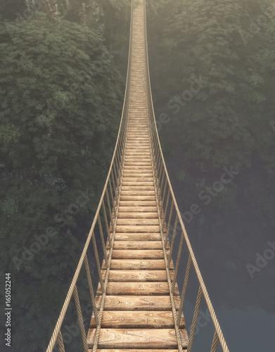 Rope bridge suspended - 165052244