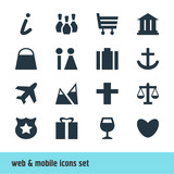 Vector Illustration Of 16 Map Icons. Editable Pack Of Present, University, Landscape Elements.