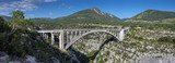 Large panoramic view of bridge on Artuby River, known as Pont de l'Artuby. Gorges du Verdon, Alpes-de-Haute-Provence, France