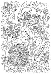 Coloring book page with Sunflowers and leaf in zentangle style. Black and white vector illustration. Doodle, hand drawn, zen art, anti stress. A4 size.