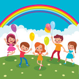 Group of cheerful children with balloons playing on the lawn