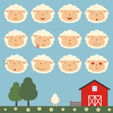 Emoticons set face of sheep in cartoon style. Collection isolated heads of sheep in different emotion and body on meadow with trees. - 165079045
