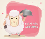 Festival of sacrifice Eid-Ul-Adha. Traditional muslin holiday. Greeting card with funny sheep holding cloche. Vector illustration on abstract background. - 165079681