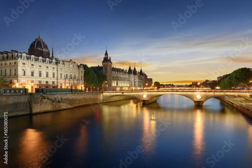 Fridge magnet Boat tour on Seine river in Paris with sunset. Paris, France