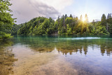 Plitvice Lakes in the evening.