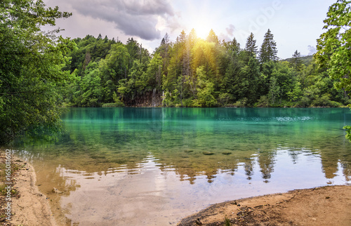 Plitvice Lakes in the evening. - 165081602