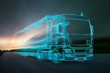 Truck aus Lichtern auf Landstraße - 165092876