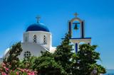 Greek Church on Santorini island, Greece. Small white and blue church in Cyclades - 165101011