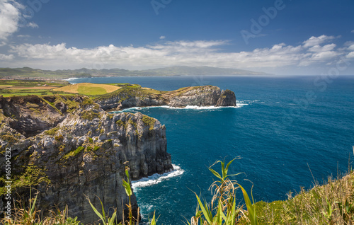 Fotobehang Groen blauw View on Atlantic Ocean Coast, Sao Miguel island, Azores, Portugal