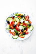 Mediterranen-style salad with olives and feta cheese
