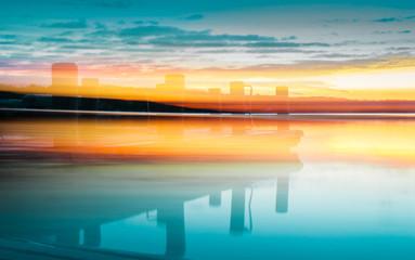 Pewaukee Lake Wisconsin Pier at Sunrise