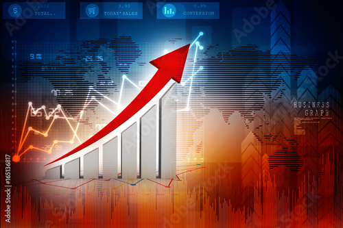 3d rendering Stock market online business concept. business Graph Poster