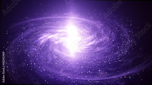 Violet Spiral Galaxy in deep spcae, Computer generated