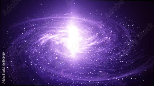 Violet Spiral Galaxy in deep spcae, Computer generated