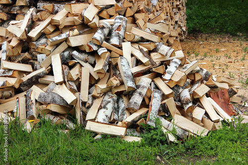 pile of logs on the grass, chopped by an axe.