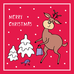 Cheerful Christmas greeting card with the image of a ridiculous deer.