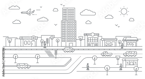 Isometric City Street Landscape View with Buildings, Roads, Trees, Cars and Walking People. Minimal Flat Line Outline Stroke Icon Illustration.