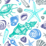 Decorative seamless pattern with ink hand-drawn different types mollusk sea shells, starfishs and pebbles. Marine elements texture. Vector illustration. - 165189240