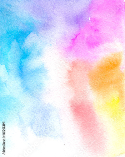 Abstract colorful watercolor for background. Rainbow watercolor backdrop. - 165203294