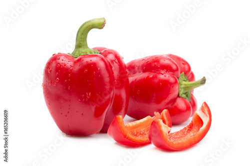 Red sweet peppers. Fresh red peppers - 165206609