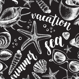 Decorative seamless pattern with ink hand-drawn mollusk sea shells, starfishs, pebbles and Beach Attributes. Marine elements texture with brush calligraphy style lettering. Vector illustration. - 165212895