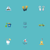 Flat Icons Sailboard, Fly, Car And Other Vector Elements. Set Of Beach Flat Icons Symbols Also Includes Swimming, Drink, Alcohol Objects.