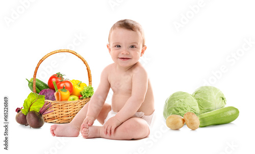 Cute baby boy, isolated on white - 165226869