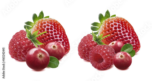 Strawberry raspberry cranberry options isolated on white background