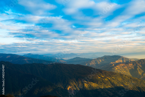Foto op Canvas Nachtblauw Dramatic landscape with colorful from sunlight at Tonglu trekkers hut