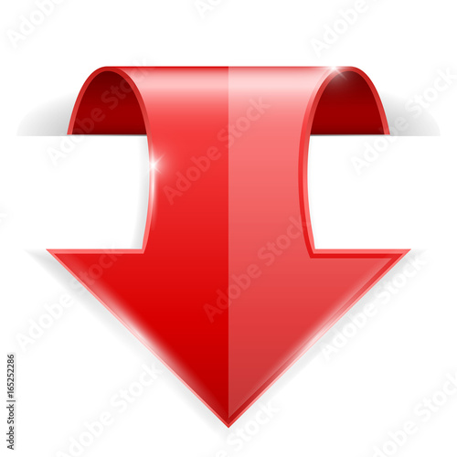 Red DOWN arrow. 3d icon with transparent shadow