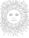 Face of the sun, rays, sunny, tattoo, graphics - 165258650