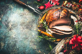 Roasted sliced Christmas ham on festive table background with decoration, top view - 165266208